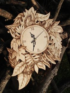 Pyrography Wood Wall Clock (Wood burning) Forest Edition