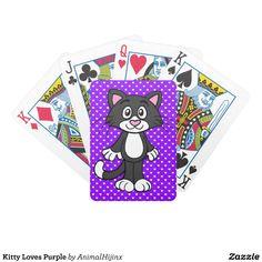Kitty Loves Purple poker cards
