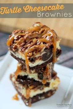Turtle Cheesecake Brownies - ooey gooey caramel and chocolate topping a brownie cheesecake....so yum!!!!