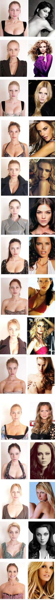 Models without make-up. Girls need to realize that we aren't spray-painted and we do not have hair & make-up stylists every day! NOBODY can look like a VS model, including the models themselves!