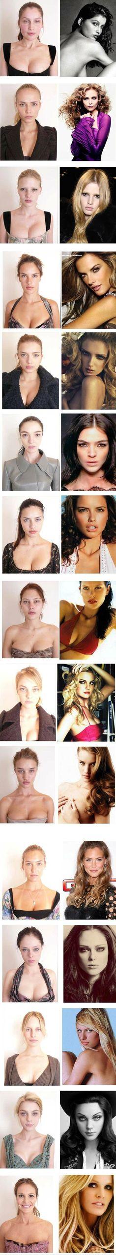 Modelos, o porder da maquiagem e cabelo.