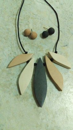 Natural organic eco friendly air dry clay geometric statement necklace and stud earrings. Custom order. www.claygeo.etsy.com