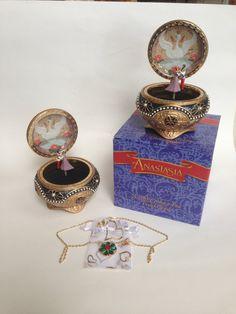 Caja de la baratija Musical Nicholas y Alexandra Anastasia w mano collar hecho a mano