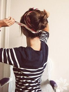 Pinterest Long Hairstyles For Summer | Use a scarf to wrap around your bun for a summery look