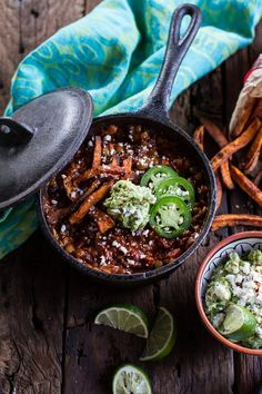 Spicy Black Bean and Lentil Chili with Cotija Guacamole   Chipotle Sweet Potato Fries | halfbakedharvest.com @hbharvest