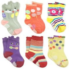 Allydrew Peek A Boo Animal NonSkid Toddler Socks Set of 6 Large >>> Read more at the image link.