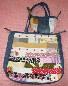 Bolsa em jeans reciclado e patchwork. Artesã Eliane David. Curitiba em Paraná