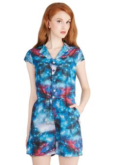 5aee5d9fa33c Material Galaxy Romper. Youll marvel at the awesome sight of the galaxy as  it splendidly. ModCloth