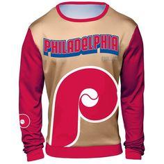 Philadelphia Phillies Sublimated Crew Neck Sweater - Tan/Red - $59.99