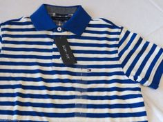 Men's Tommy Hilfiger Polo shirt stripe knit logo 7845165 Nile Blue 431 M Slim Ft