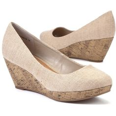 Wide Fit Nude Canvas Wedge Shoes