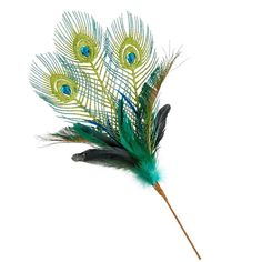 Holiday Lane Peacock Feather Christmas Tree Pick ($9.99) ❤ liked on Polyvore featuring home, home decor, holiday decorations, decor and peacock feather home decor
