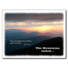 Eloped in the Mountains / Mtns Called - We Eloped! Announcement Postcard:  Featuring a beautiful sunset photograph taken from the top of Mt. LeConte in the Great Smoky Mountains. The photo displays a popular John Muir quote: 'The mountains are calling and I must go'. Under the mountain landscape the text reads: 'The mountains called… The back of the card is a template, and says 'We Eloped! with the wedding date and your personal message.  #eloped