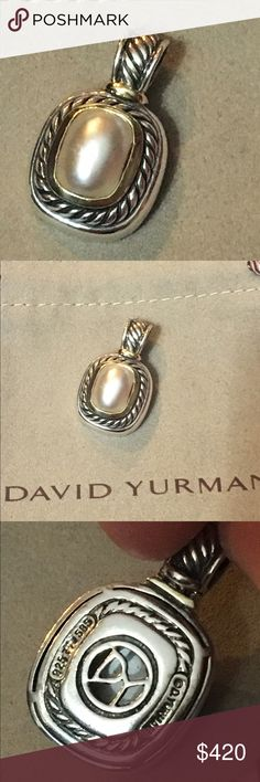 David Yurman Sterling & 14k Pearl Albion Enhancer This is the original Albion collection Enhancer by David Yurman.  It's Sterling silver and 14k gold and has a made pearl center.  The bale is completely secure and opens to fit chains up to 6mm wide.  It is hallmarked DY, D. yurman 925 & 585.  It used to retail for $790.  Comes with the pouch. David Yurman Jewelry Necklaces