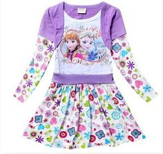 Aliexpress.com : Buy New 2014 Frozen Dress Elsa Anna Children's Clothing 100% Cotton Baby Kids Girls Dresses Long Sleeve two piece style Z14A19 from Reliable clothes drier suppliers on Naomi's store | Alibaba Group