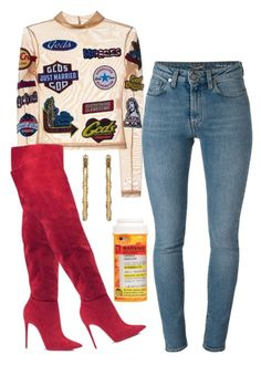 """""""Untitled #5996"""" by stylistbyair ❤ liked on Polyvore featuring Yves Saint Laurent, Gucci and Moschino"""