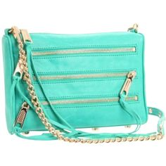 Rebecca Minkoff 5 Zip Teal Cross Body Bag ($76) ❤ liked on Polyvore featuring bags, handbags, shoulder bags, purses, rebecca minkoff, green shoulder bag, teal shoulder bag, teal purse and crossbody purse