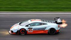 Gulf Oil Lamborghini with glowing brakes and backfire