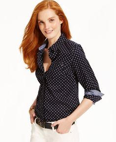 Tommy Hilfiger Button-Down Shirt, Classic Dot - Women - Macy's