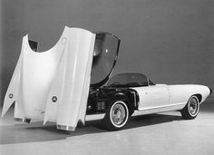 Cadillac Cyclone concept car, showing the electrically operated bubble canopy being stowed (1959)