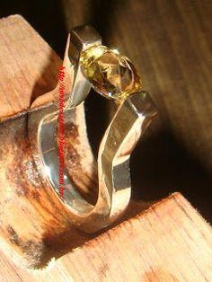 Anel de Prata 950 Solitário pedra natural quartzo citrino amarelo dourado round cut gemstone.