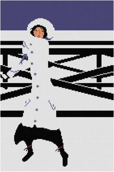 0 point de croix femme dans la neige - cross stitch lady in the snow