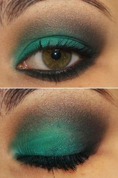 Smokey turquoise eye-this is really pretty BUT before you take a close up, a tweeting would be wise. Just sayin'