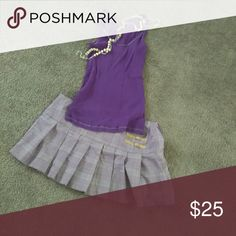 Outfit Wet Seal size M purple shirt Xi M/L schoolgirl skirt Wet Seal Skirts Mini