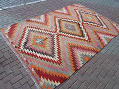 """Kelim Teppich groß aus Denizli Region Wolle und natürliche Farben, Kelim, Kilim Teppich, Teppiche 123"""" von 80"""" İnches (312 x 204cm)"""