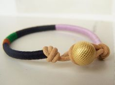 Cooper wrap bracelet - textile, leather, button closure (midnight cinnamon clover lavender), handmade jewelry