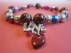 Love Charm Bracelet with by BeadazzlingButterfly on Etsy, $15.00