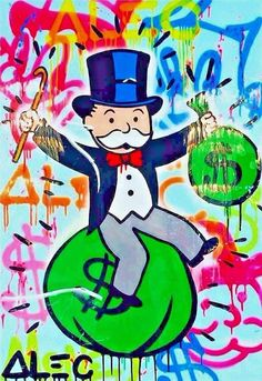 """Alec Monopoly Riding money Oil Painting HD Print On Canvas Decor,12X18""""/Unframed"""