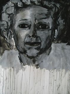 Queenie, painted with white paint and charcoal...inspired by alberto giacometti by  Jane Bell