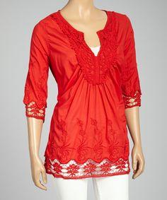 Red Crochet-Trim V-Neck Top