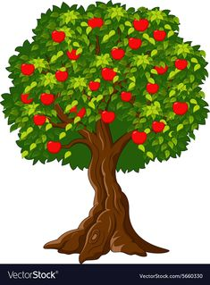 Green Apple tree full of red apples isolated Vector Image Kids Background, Cartoon Background, Tree Wallpaper Iphone, Disney Wallpaper, Red Maple Tree, Red Tree, Apple Tree Care, Willow Tree Wedding, Tree Illustration