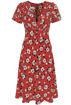Kate wore the Silk Tea Dress in Budding Hearts green, this is Suzannah's silk tea dress in red