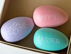 chalk painted wooden play eggs