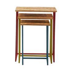 Set 3 #mesas en #madera con patas #multicolor