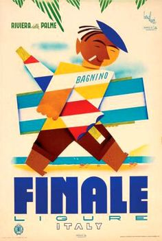 """Finale Ligure Italy""  Bonilauri - 1953  26 inches x 39 inches""  ref #Finale Ligure"