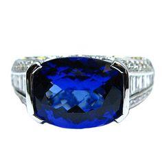 Tanzanite Cushion Ring with Diamonds #jbirnbach