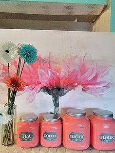 Clearance. Anchor Hocking Cracker Jar Canister Set in Coral #AnchorHocking