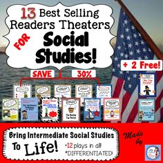 Grab 13 of my best selling plays that bring intermediate social studies events to life for more than 30% off! Each play features 3 distinct reading levels for differentiation. Your class will be engaged with the balance of facts mixed with historical fiction!  Aligned to the common core, this integration of Language Arts and Social Studies will meet your needs throughout the year! https://www.teacherspayteachers.com/Product/Social-Studies-Readers-Theater-Super-Bundle-intermediate-2051614