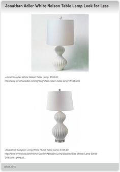 Jonathan Adler White Nelson Table Lamp $395.00 vs Overstock Abbyson Living White Fluted Table Lamp $105.99