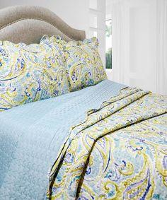 Another great find on #zulily! Blue & Green Jacqueline Quilt Set #zulilyfinds