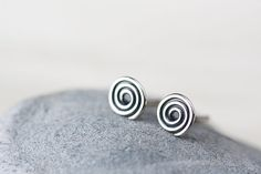 Tiny Spiral Stud Earrings, small unisex Celtic spiral studs,  mens stud earrings, hammered oxidized polished 925 sterling silver earring on Etsy, $18.00