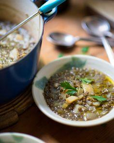 Puy lentil, potato and lemon soup Soup Recipes, Cooking Recipes, Healthy Recipes, Lemon Soup, Sbs Food, Black Bean Soup, Winter Soups, Lentil Soup, Lentils
