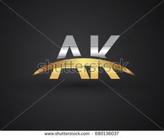 AK initial logo company name colored gold and silver swoosh design. vector logo for business and company identity.