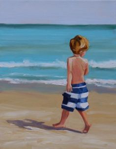 "Daily Paintworks - ""spring in his step"" - Original Fine Art for Sale - © Carol Carmichael Painting People, Painting For Kids, Figure Painting, Beach Kids, Beach Art, Acrylic Painting Canvas, Watercolor Paintings, In His Steps, Children Sketch"