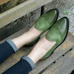 green oxford flats