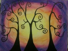 One of my canvas paintings - curvy trees